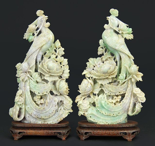 A Pair of Carved Jade Phoenixes.