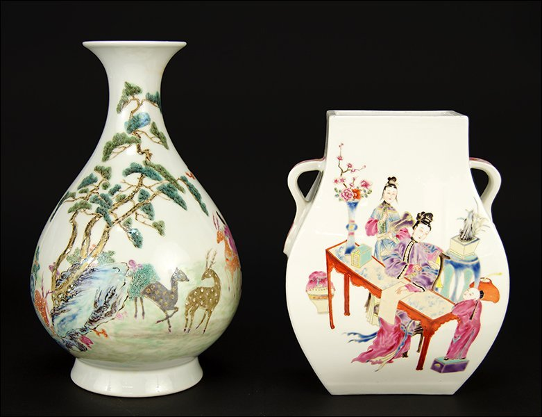 Two Chinese Polychrome Decorated Porcelain Vases.