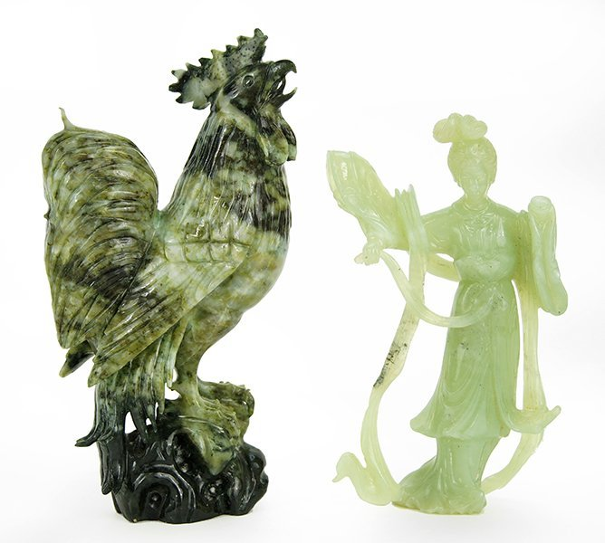Two Chinese Carved Jade Figures.