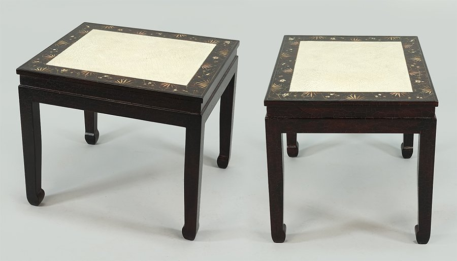 A Pair of Chinoserie Style Side Tables.