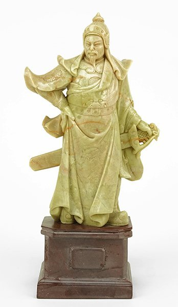 A Chinese Carved Soapstone Samurai Figure.