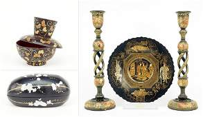 A Group of Chinese Black Lacquered Decorative Items