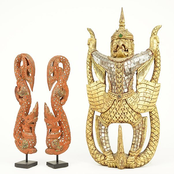 A Pair of 19th Century Burmese Red Lacquered Temple