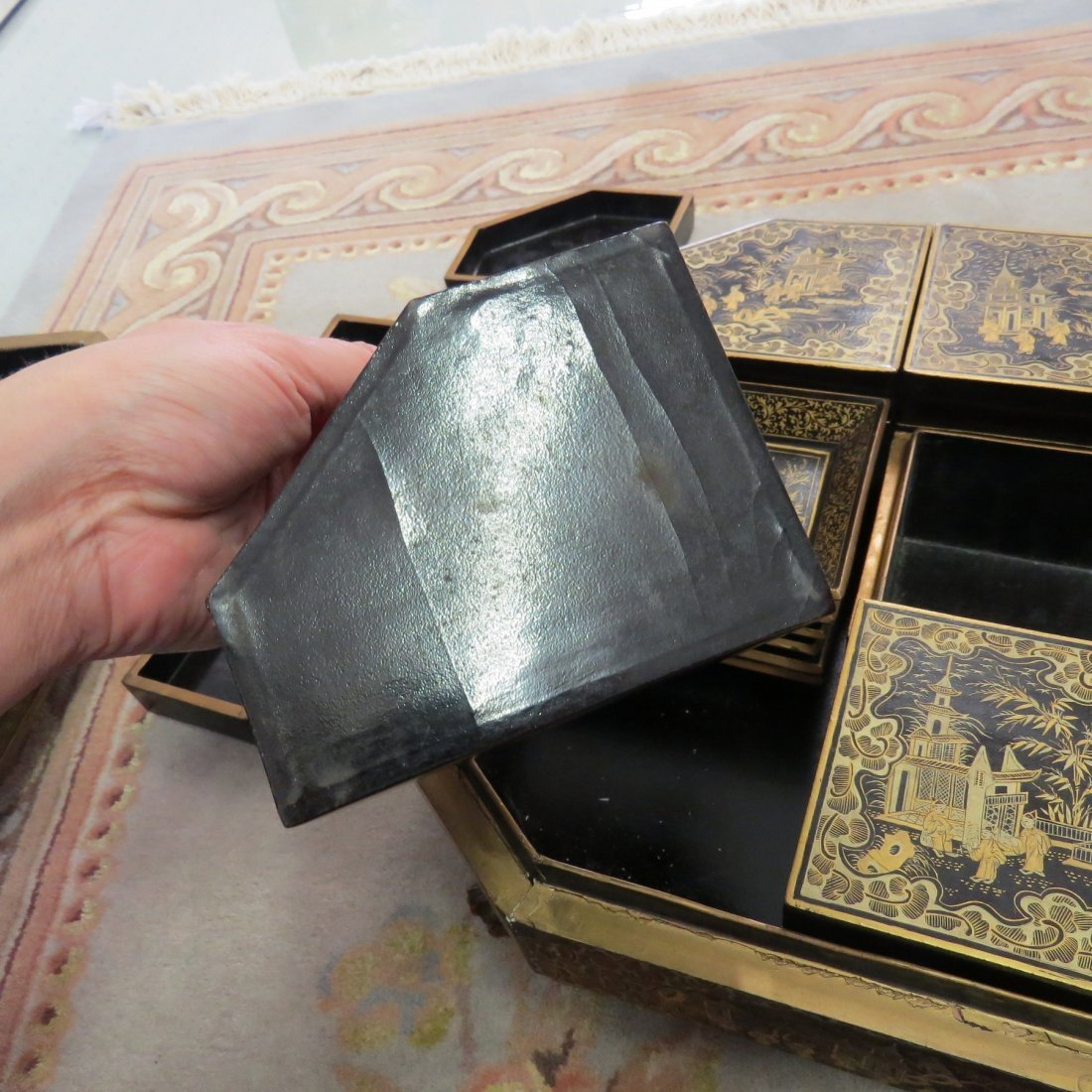 A 19th Century Chinese Export Lacquered Sewing Box. - 10