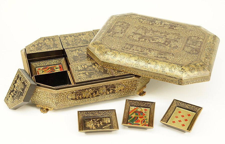 A 19th Century Chinese Export Lacquered Sewing Box. - 2
