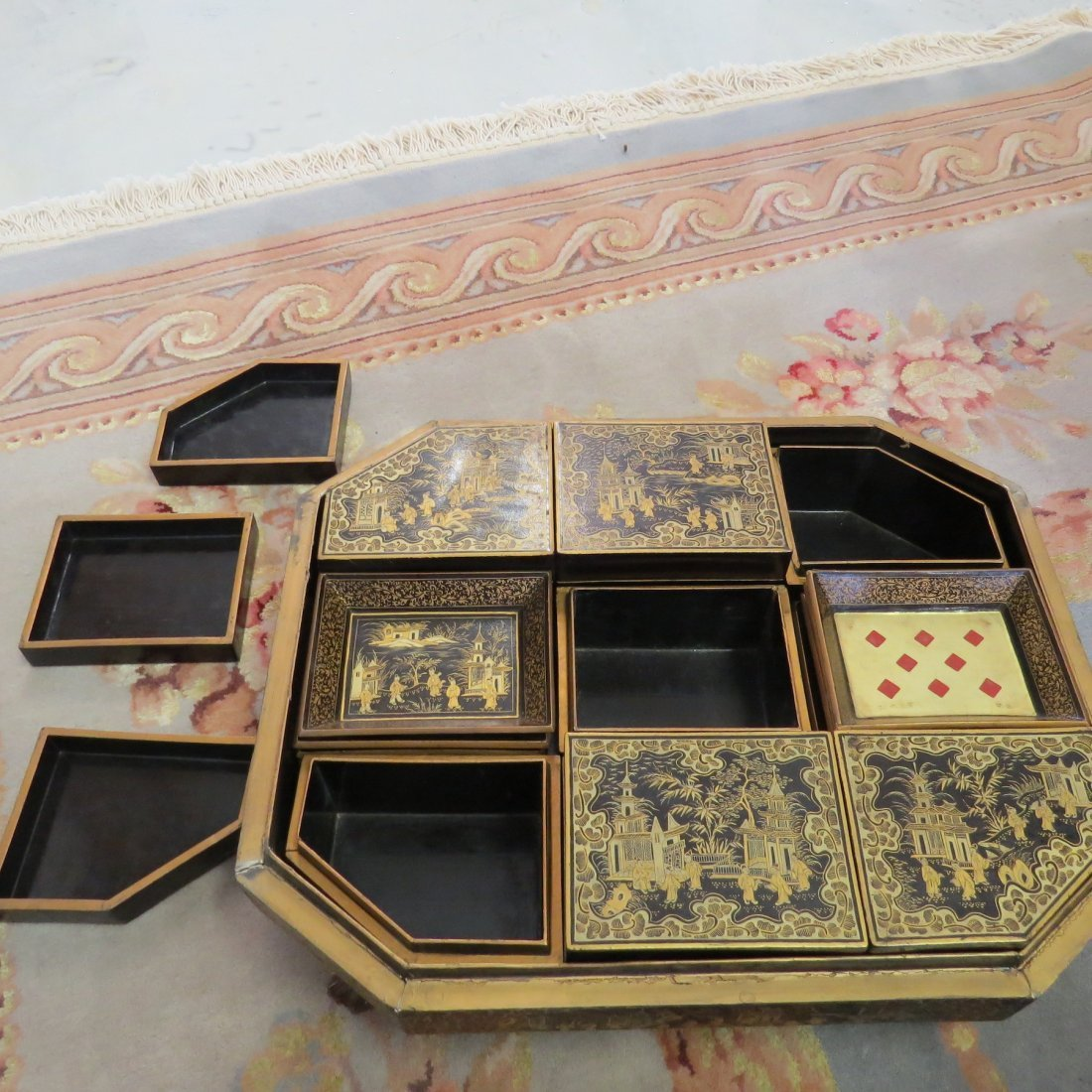 A 19th Century Chinese Export Lacquered Sewing Box. - 9
