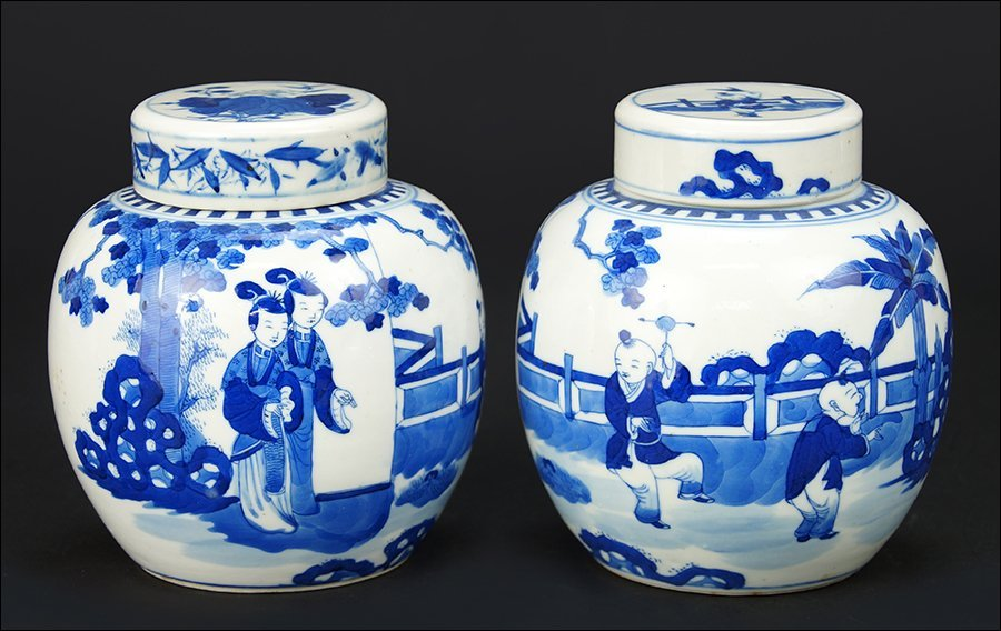 A Pair of Chinese Blue and White Porcelain Ginger Jars.