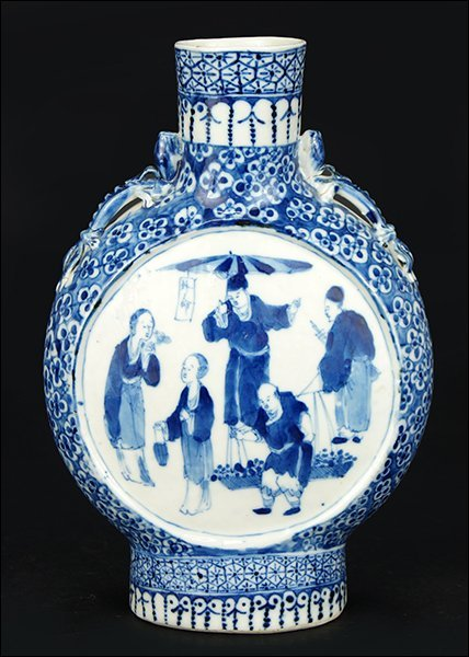 A Chinese Blue and White Porcelain Moon Vase.