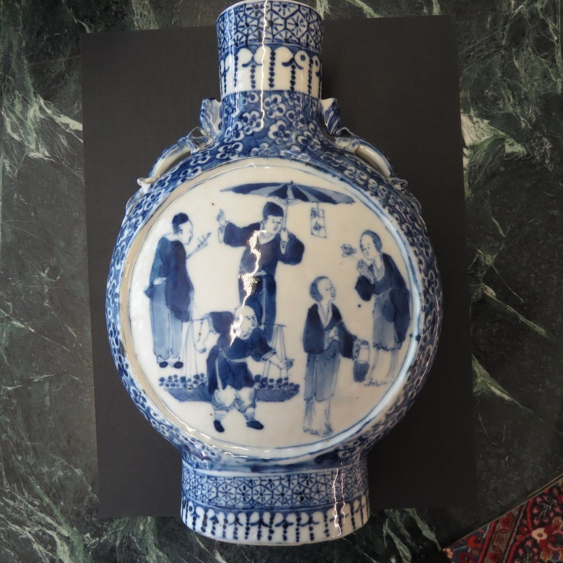 A Chinese Blue and White Porcelain Moon Vase. - 2