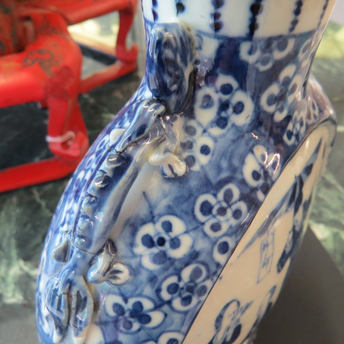 A Chinese Blue and White Porcelain Moon Vase. - 4