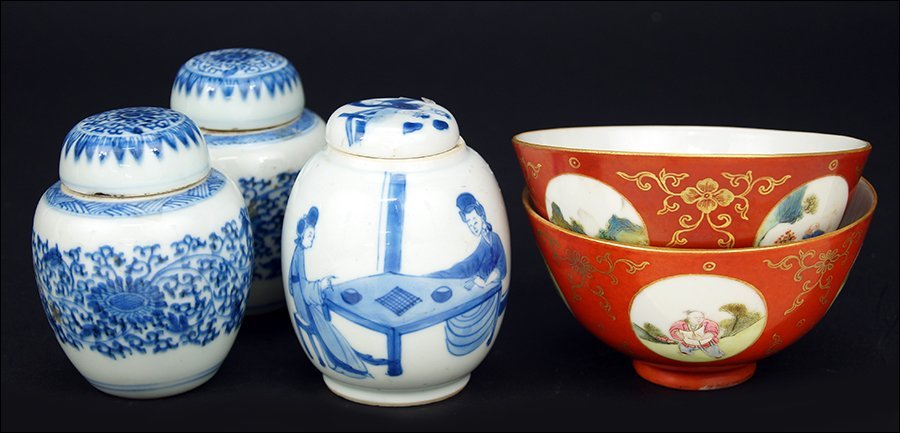A Pair of Chinese Blue and White Porcelain Miniature