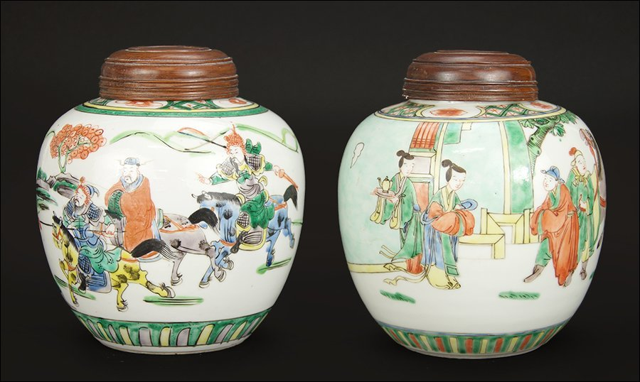 Two Chinese Famille Verte Porcelain Ginger Jars.