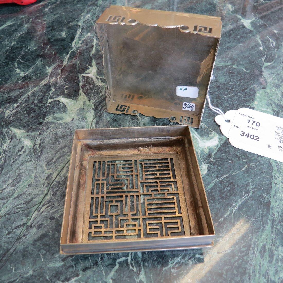 Three 20th Century Chinese Brass Incense Burners. - 10