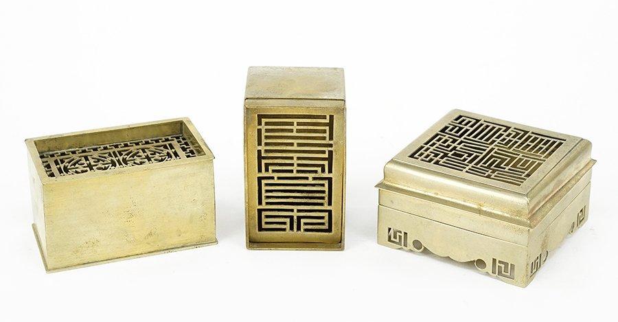 Three 20th Century Chinese Brass Incense Burners.