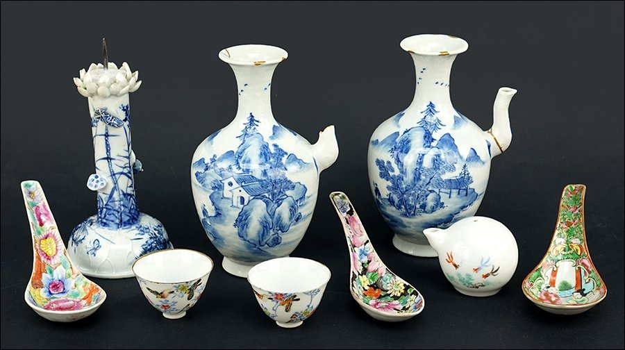 Two Qing Dyansty Blue and White Wine Jugs.
