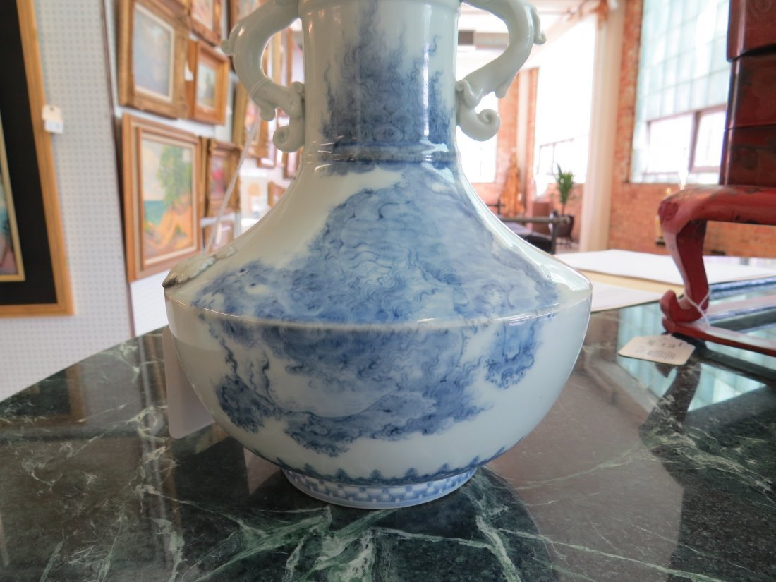 A 19th Century Japanese Blue and White Porcelain Vase. - 2