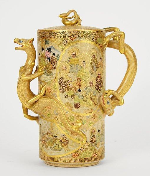A Japanese Satsuma Pottery Teapot.