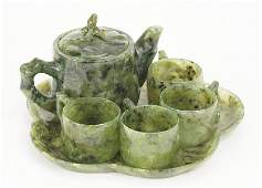 A Chinese Serpentine Jade Tea Set