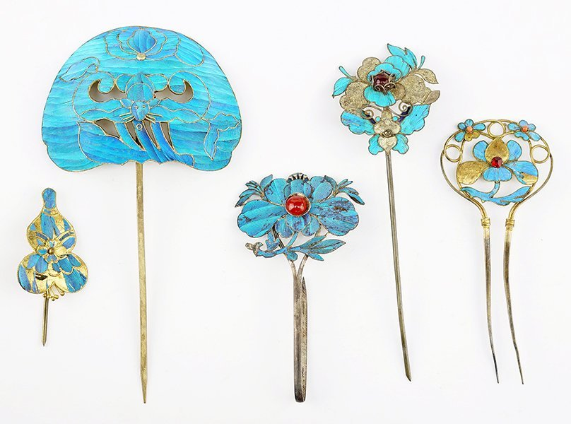 Five Chinese Kingfisher Feather Hair Pins.