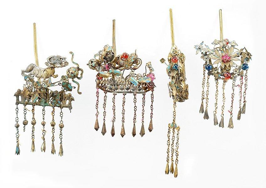 Four Chinese Hair Pins.