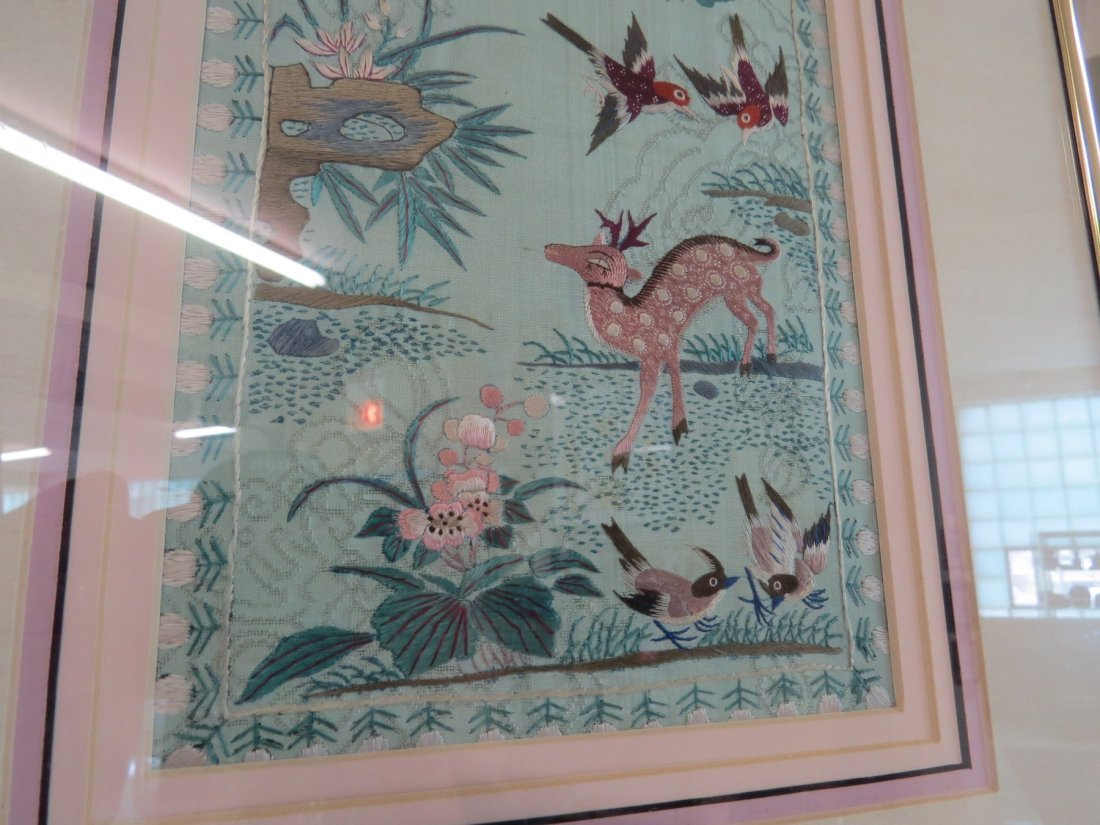 A Chinese Forbidden Stitch Embroidered Panel. - 2