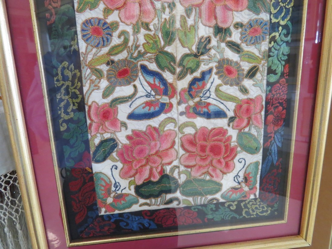 A Chinese Forbidden Stitch Embroidered Panel. - 4