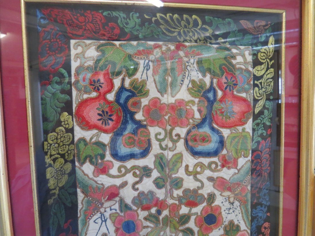 A Chinese Forbidden Stitch Embroidered Panel. - 5