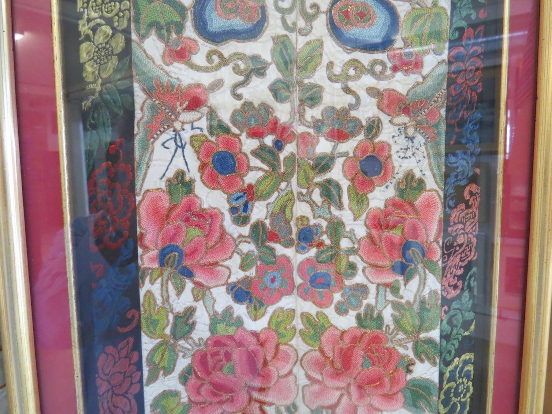 A Chinese Forbidden Stitch Embroidered Panel. - 6
