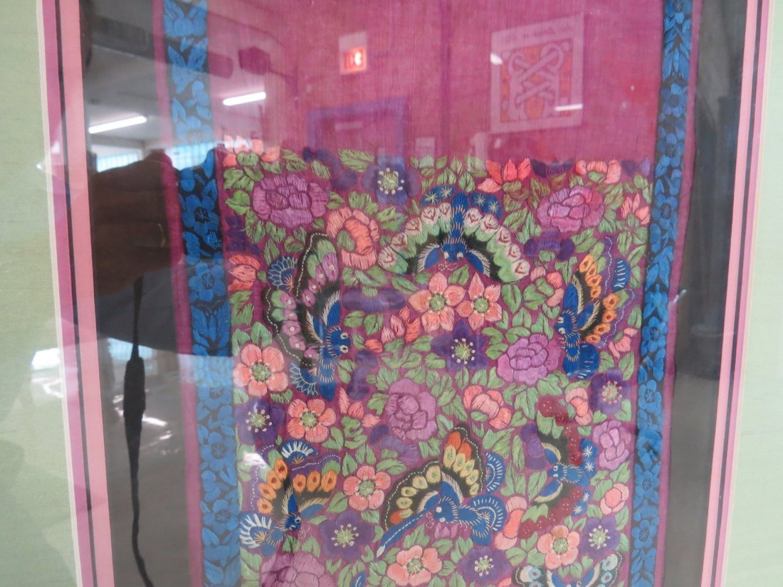 A Chinese Forbidden Stitch Embroidered Panel. - 8