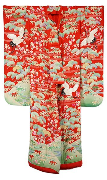 A Japanese Embroidered Uchikake or Wedding Kimono.