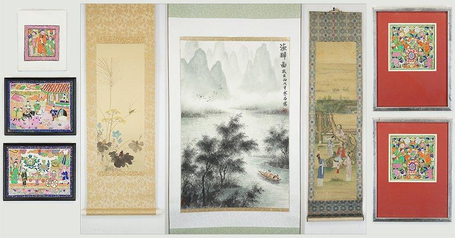 Three Chinese Painted Scrolls.