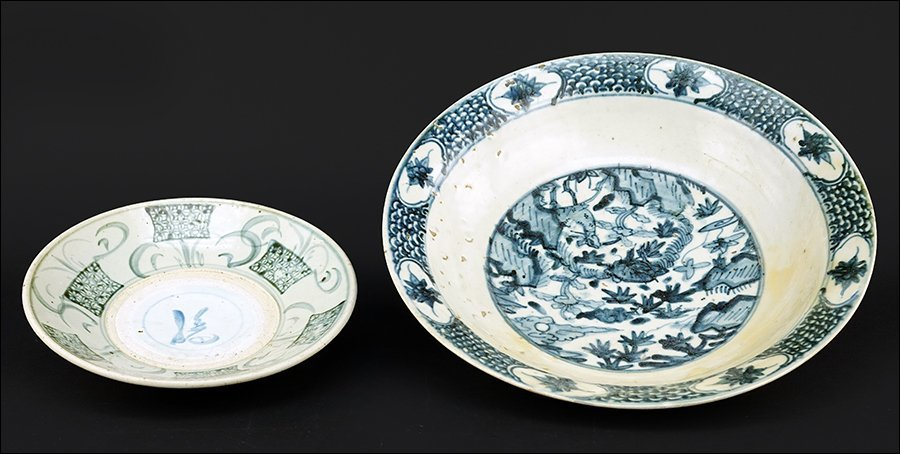 Two Chinese Blue and White Porcelain Shallow Bowls.