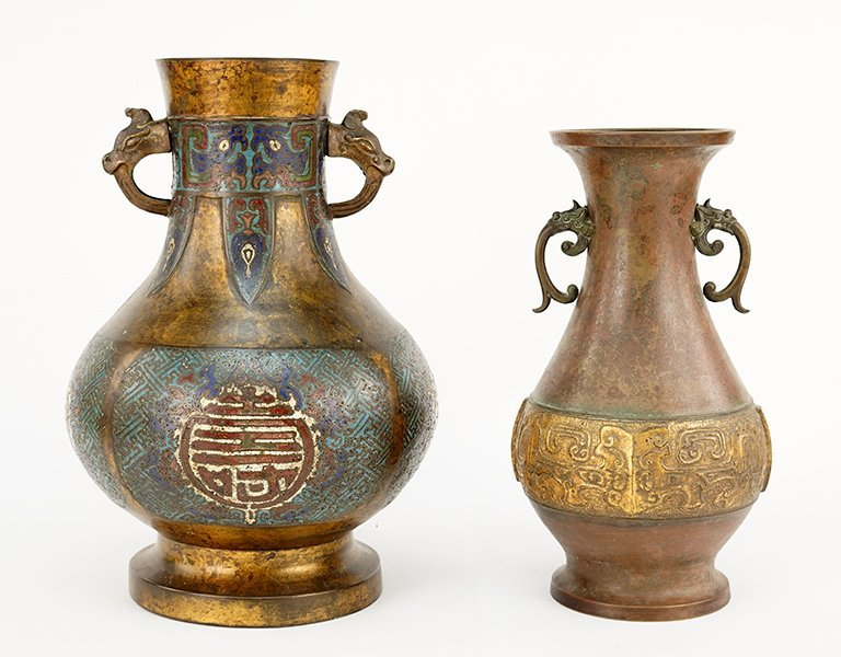 Two Chinese Bronze Pear-Shaped Vases.