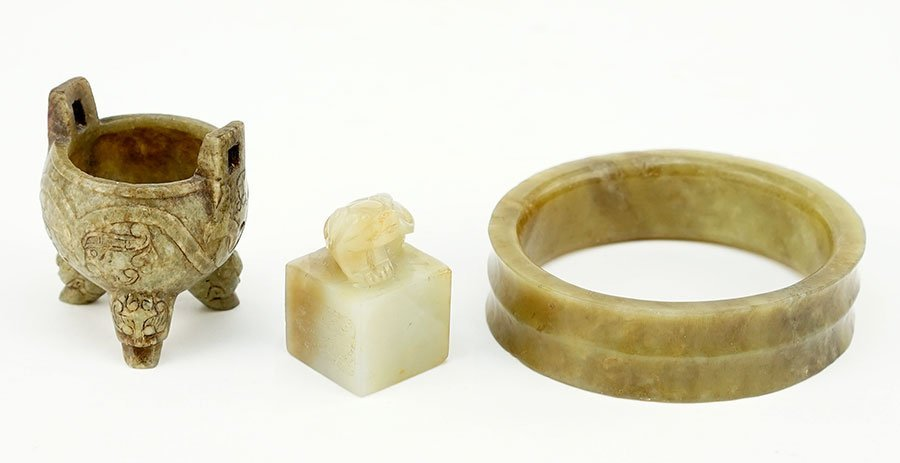 Three Chinese Carved Jade Items.