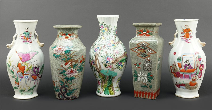 A Collection of Chinese Enameled Porcelain Vases.