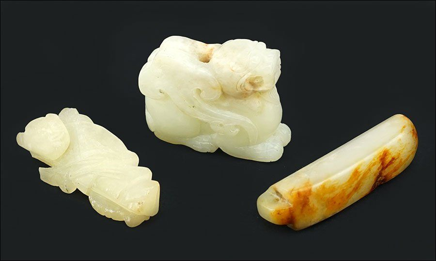 Three Chinese Carved Jade Articles.