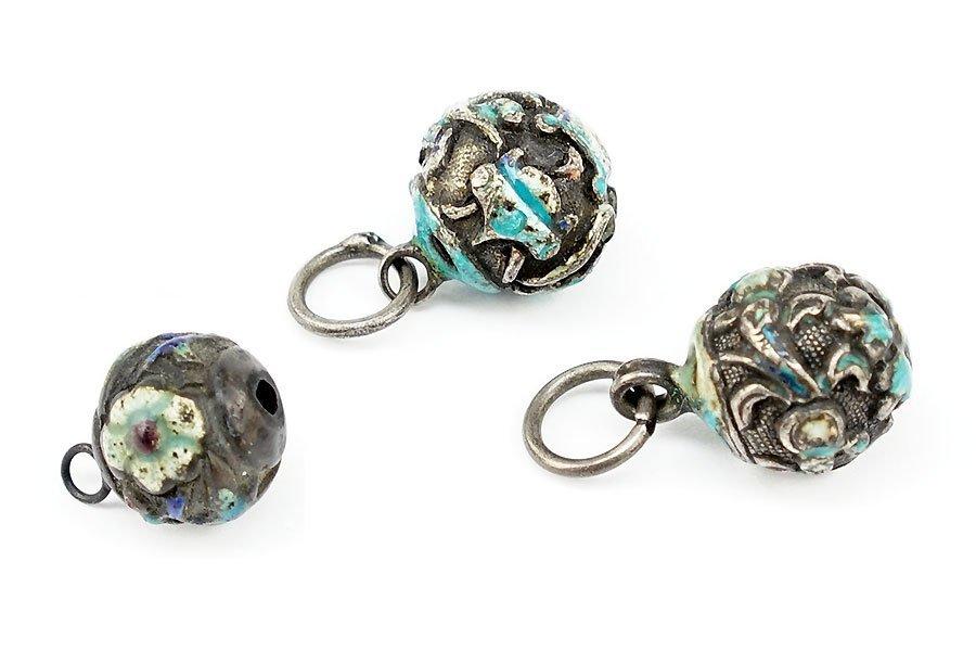 Three Cloisonne Enameled Nepalese Beads.
