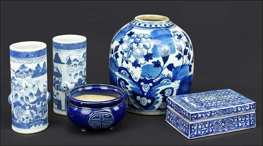 A Group of Blue and White Porcelain Articles.