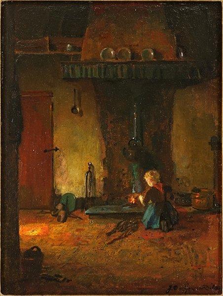 Jacob Dooijewaard (Dutch, 1876-1969) Girl Tending a