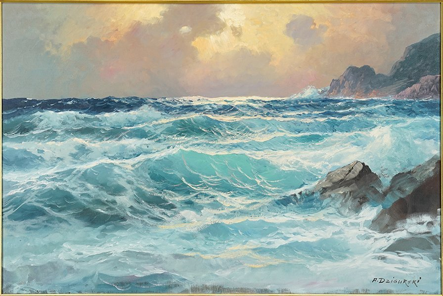Alexander Dzigurski (American, 1911 - 1995) Waves at