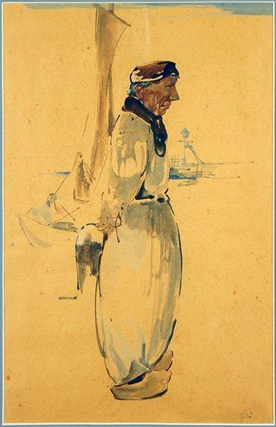 Willem Van Den Berg (Dutch, 1886-1970) Dutch Fisherman.