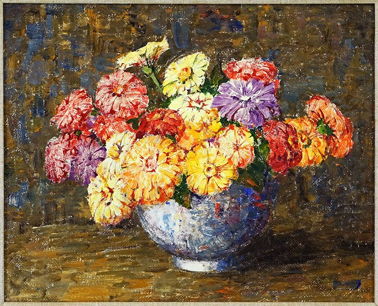 Dines Carlsen (American, 1901-1966) Zinnias in a Blue