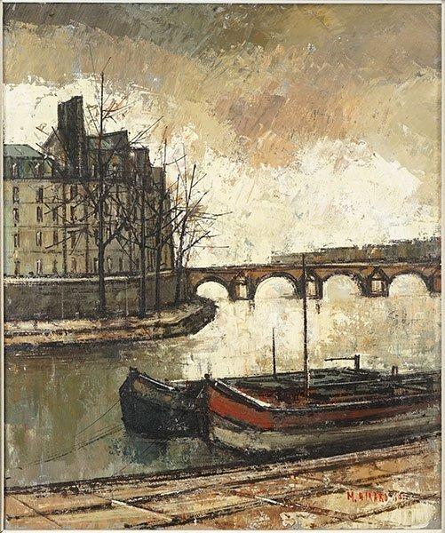 Marius Girard (French, B. 1927?) Canal Scene.