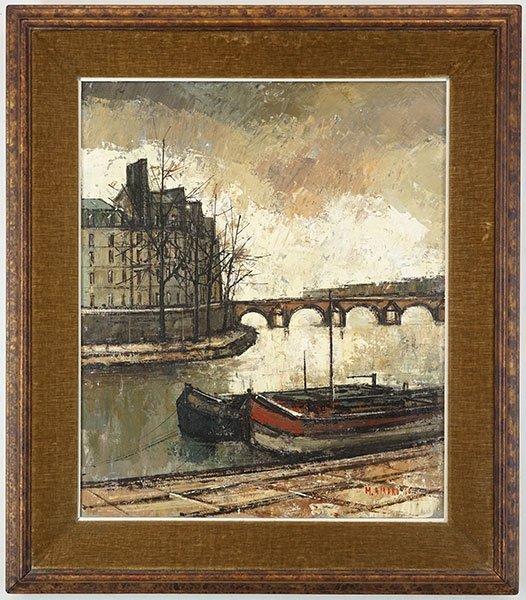 Marius Girard (French, B. 1927?) Canal Scene. - 3