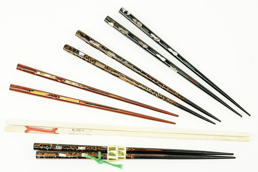 Five Pairs of Ivory and Lacquer Chopsticks.