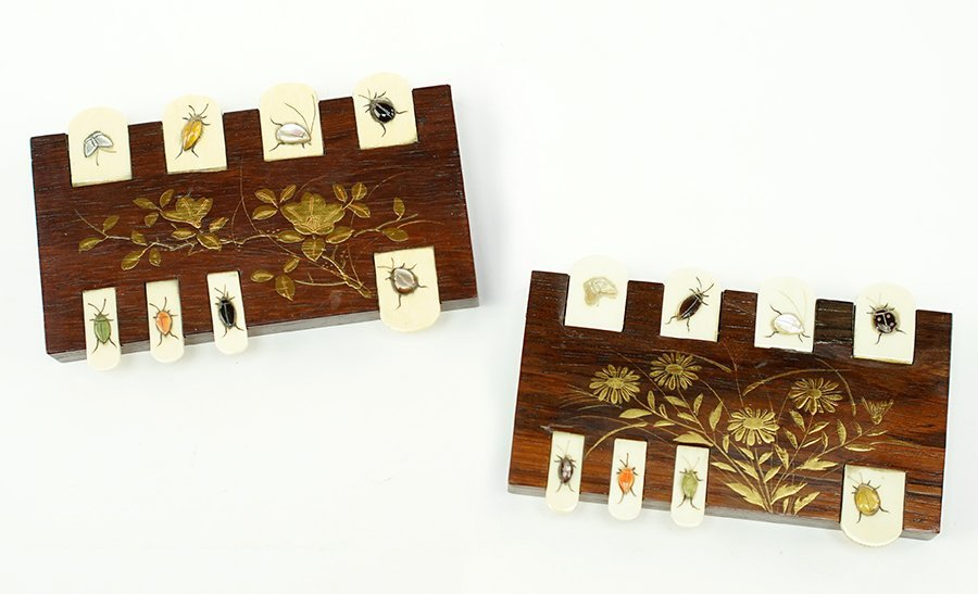 Two 20th Century Japanese Harwood and Ivory Game