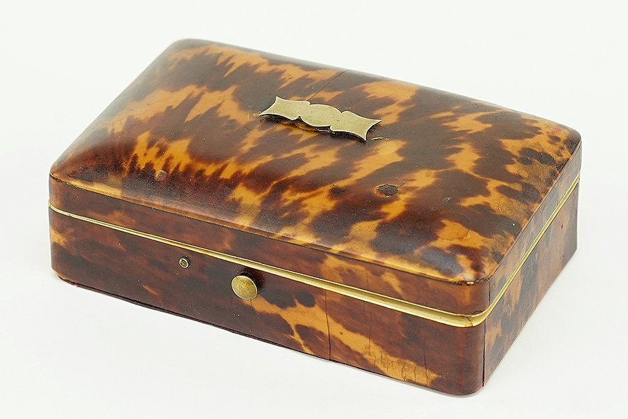 A Victorian Tortoise Shell Sewing Box.