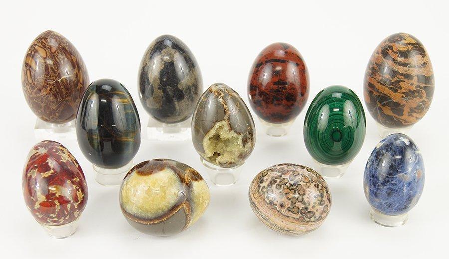 A Collection of Semi-Precious Stone Eggs.