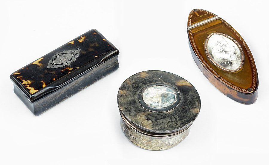 An English Silver and Tortoise Shell Round Box.