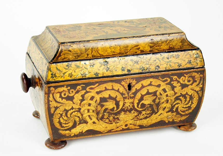 An English Regency Penwork Tea Caddy.